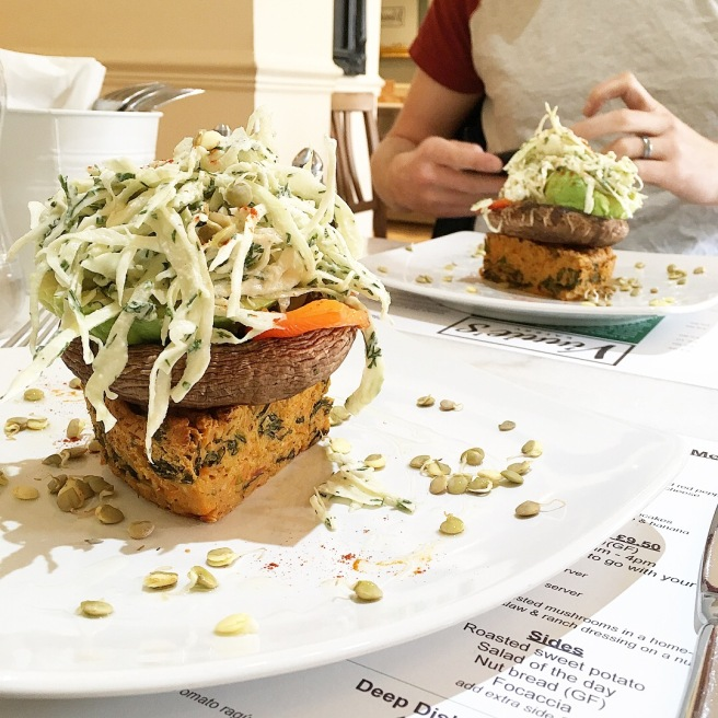 Vinnie_s Eatery Review Plant Based Restaurant in Cheltenham - vegan brunch stack