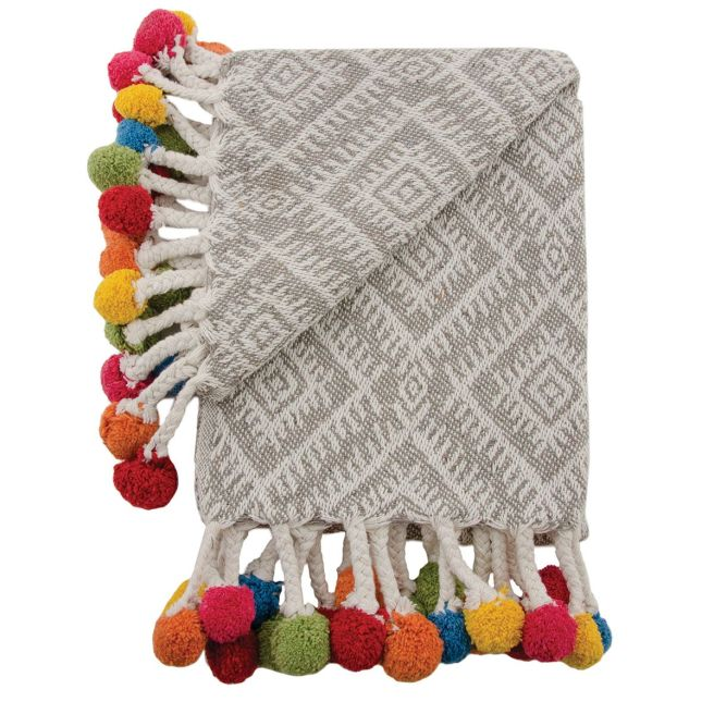 Recycled Cotton Pom Pom Grey Throw.jpg