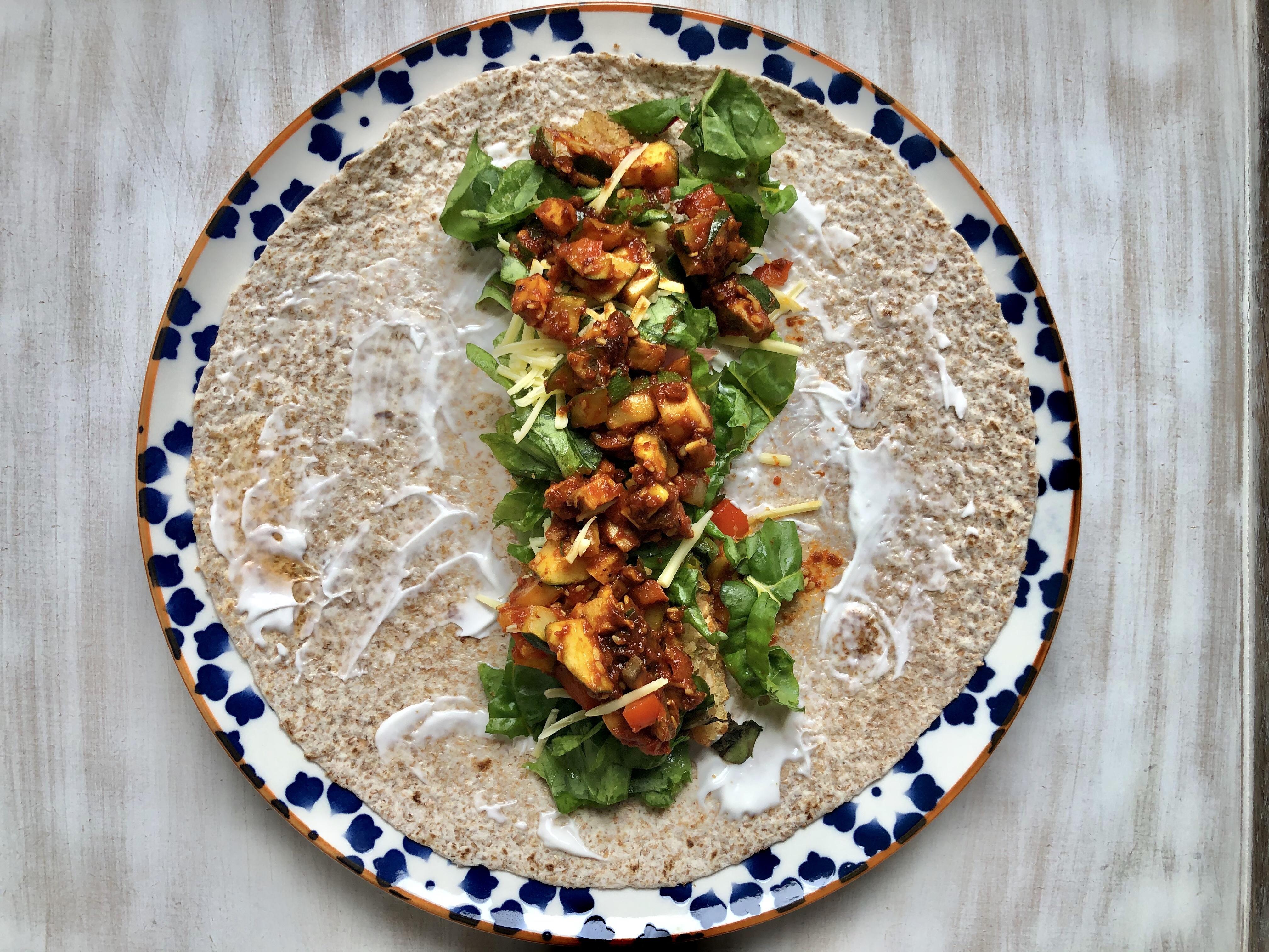 Spicy vegan fajita wrap