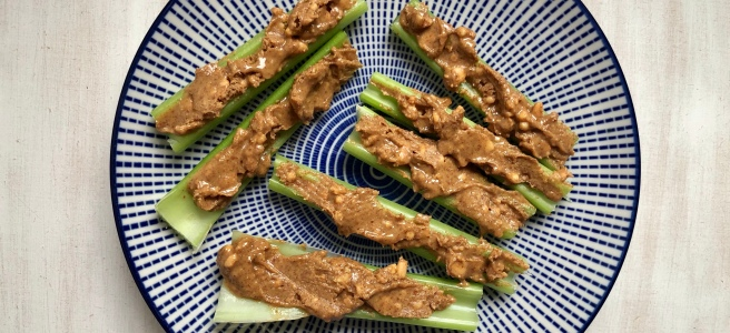 peanut butter on celery healthy vegan snack idea