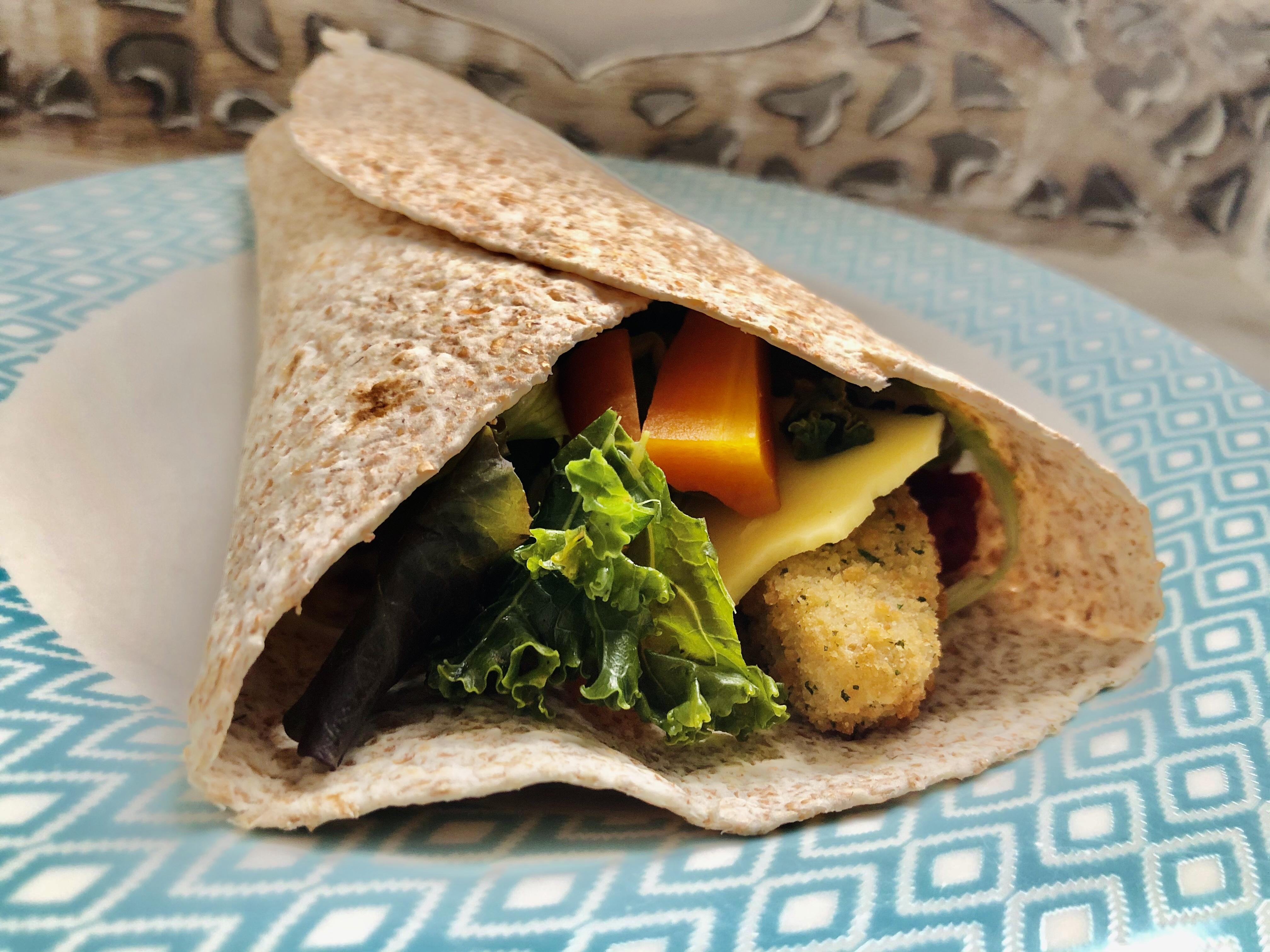 Warm vegan fish goujon wrap