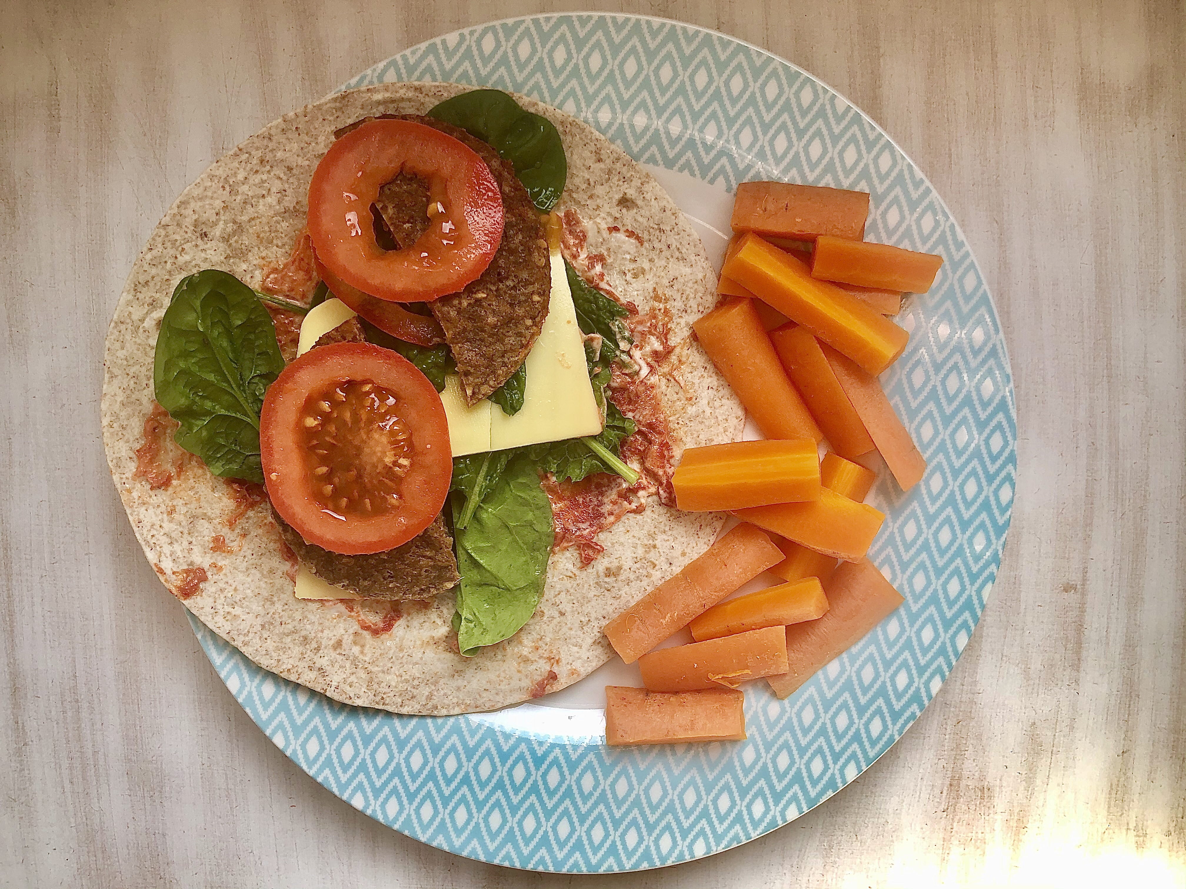 Tasty vegan burger wrap