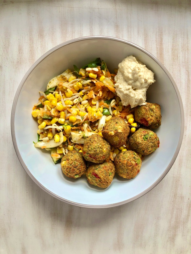veggie balls houmous quick vegan dinner ideas