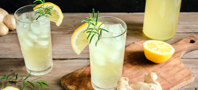 Glasses of kombucha with lemon and ginger