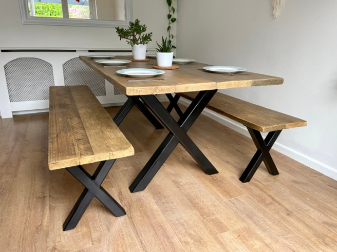 Industrial dining table and bench